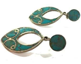 30s Sterling Silver & Turquoise Earrings / Vintage 1930s Signed Mexican Chip Inlay Mosaic Dangle Screw Back Earrings / Antique Pre Eagle RMS