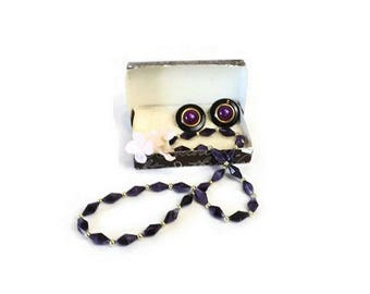 Vintage Hecht Co Purple Beaded Necklace with Clip Earrings, Retro Collectible Costume Jewelry