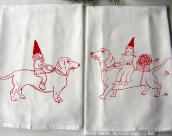Dachshund and Gnome Kitchen Dish Towels, Hand Printed Cotton, Mr. & Mrs. Gnome Set of 2 Tea Towels, Housewarming Gift,  Gift for dog lover