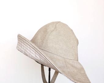 Child Wide Brim Floppy Sun Hat in Beige Cotton Chambray