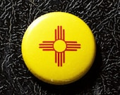"1"" New Mexico flag button, state, pin, badge, pinback"