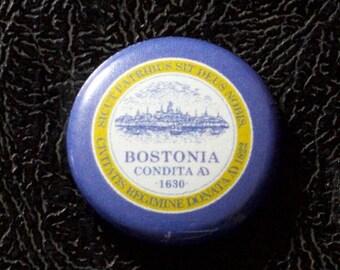 "1"" Boston MA flag button - Massachusetts, city, pin, badge, pinback"