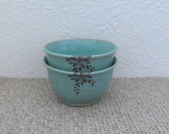 Bowls Set of 2 - Handmade Stoneware Pottery Ceramic - Blue Celadon - Floral - 1-3/4 cups