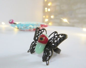 Boho Butterfly Ring, Fused Glass Ring, Filigree Ring, Adjustable Ring, Cocktail Ring, Statement Ring