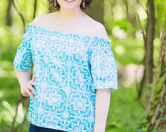 New Off The Shoulders Top Summer Blouse Top In Caribbean Blue Mothers day Vacation wear