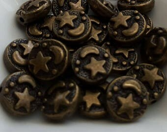 24 pcs Moon and Stars CELESTIAL antiqued bronze spacer beads 9mm