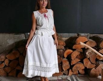 Victorian Petticoat with Crochet Hem Small to Medium