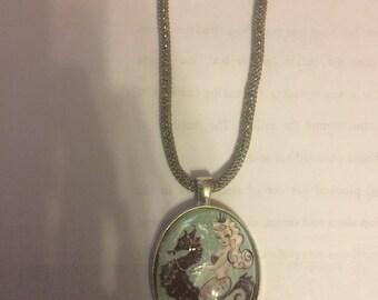 Retro Blue Mermaid on Seahorse Large Oval Pendant Necklace