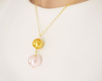 Pink Necklace Gold Necklace Pink Jewelry Gold Jewelry Wedding Necklace Wedding Jewelry Bridesmaid Jewelry Bridesmaid Necklace Gold Necklace