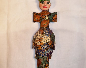 10 1/2 in. Metallic Flower Goddess Fantasy fabric art doll form w/face cab You finish her Bead Decorate