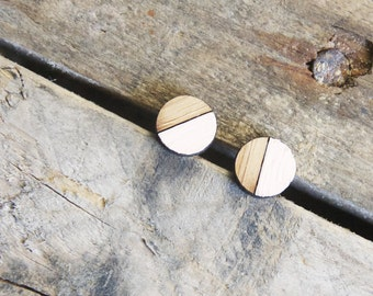 Half Circle Earrings / Tiny Wooden Studs / Vintage Modern Jewelry