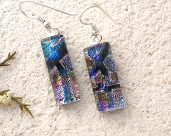 Blue Purple Earrings, Dangle Drop Earring, Dichroic Earrings, Fused Glass Jewelry, Dichroic Jewelry, Sterling Silver Earrings, 110216e100