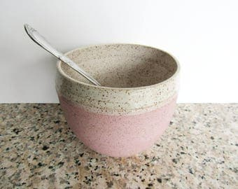 Small pink serving bowl, ready to ship, handmade pottery, speckled pink and white  16 oz