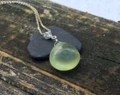 Big Prehnite Sterling Silver Pendant, Genuine Gemstone, Green Stone, Handmade Necklace, Wire Wrap Jewelry, 16 18 20 22 24 inch Kerri Hale VT