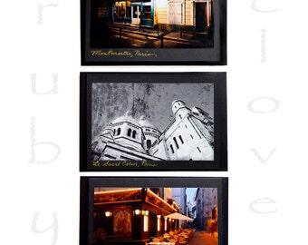 Paris Photo CARD SET, Bohemian Paris, French Cathedral, Paris at Night,Black Cards, French Greeting Card,Montmartre, Le Sacre Coeur, Amelie