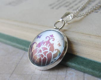 Prism Collection - Heavenly Lotus - Color Changing Floral Print Pendant