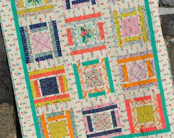 Baby or Lap QUILT PATTERN....Quick and Easy...Layer Cake or Fat Quarter pattern, Red Letter Day