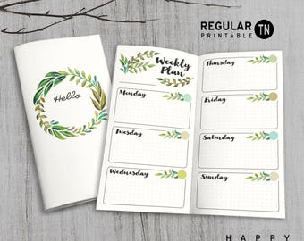 Printable MTN Insert - Regular Undated Weekly Insert - Midori weekly insert, Weekly Traveler's Notebook Insert - Green Leaves