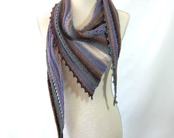 Merino Mohair Skinny Triangle Shawl Style Scarf Neckwrap with Beads  -  Periwinkle, Brown, Green and White Mochi