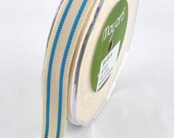 May Arts Ribbon - 1 yard - 5/8 Inch Cotton Blend Ribbon with LIGHT BLUE Stripes - Sku: 385-58-34