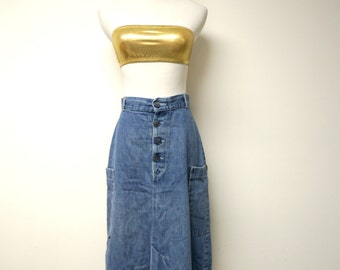 "miss h.i.s  . 70s 80s A-line denim skirt  .  27.5"" waist"