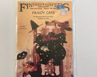 """Halloween Doll Pattern - Fraidy Cats 12"""" beanbag doll and Kitty pattern by Pegi White  for Finders Keepers"""