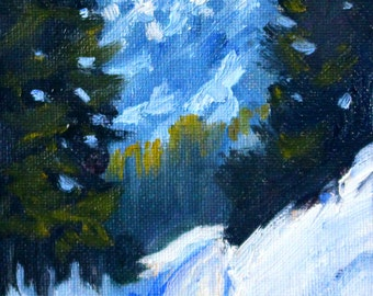 Small Landscape, Oil Painting, Original Oil, 4x5 Canvas, Mountain Scene, Northwest Snow, Blue Green, Forest Woodland, Winter, Miniature Art