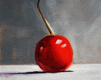 Red Cherry, Still Life, Oil Painting, Kitchen, Wall Decor, Small Fruit Art, 6x8, Stretched Canvas, Gray Background, Minimalist Design, Food