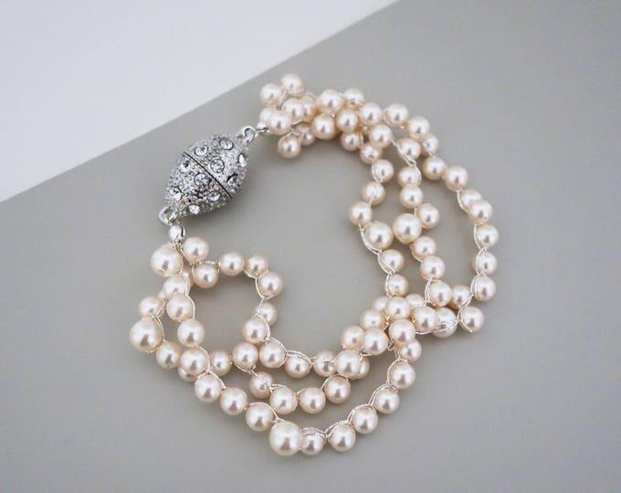 Blush Bridal Jewelry Crystal and Pearl Wedding Bracelet