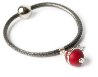 VELVET leather bracelet - red lampwork glass bead