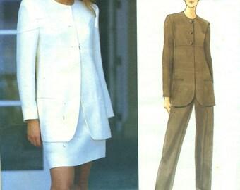 Vogue 1553 CALVIN KLEIN Jacket, Skirt, Pants Suit Sizes 6-8-10  ©1995