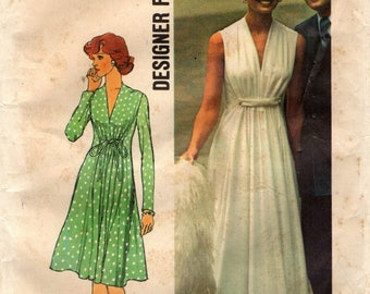 Simplicity 6672 Ethereal Designer Fashion Gown Size 14 Bust 36 Vintage 1970s 1974