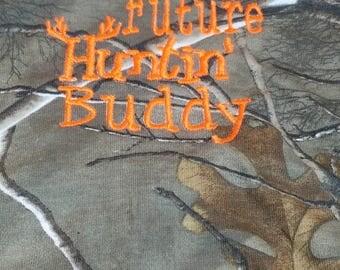 Future Huntin Buddy Realtree Camo Onesie or Bib Neon Orange or Hot Pink Embroidery Thread