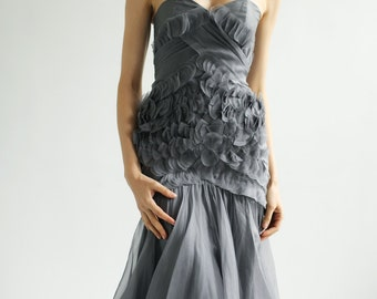 Sample SALE gray silk organza Gown with hand embellished couture detail