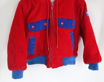 Vintage Toddler Coat / Vintage OshKosh Red Blue Corduroy Toddler Jacket / Vintage Boys Jacket / Size 3T