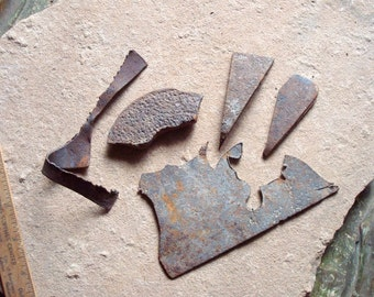 Rusty Flat Metal Cut Pieces Found Objects for Assemblage, Altered Art or Sculpture - Industrial Salvage