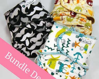 Surprise-Me Bundle of 3 Hidden-PUL AI2 Cloth Diapers - Pack of Three Made to Order Hidden PUL Diapers Nappies - Save Money - Discounted Set