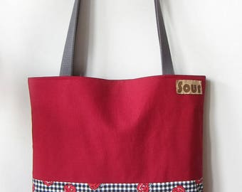 Heartspark // Red Canvas , Gingham and Roses Print Tote Bag with gray cotton webbing straps