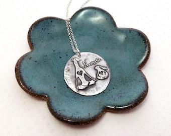 Namaste Greyhound Necklace - Greyhound - Bunny - Zen Collection - Greyhound Jewelry - Fine Silver - Yoga Dog - Whippet - Galgo- Italian Grey