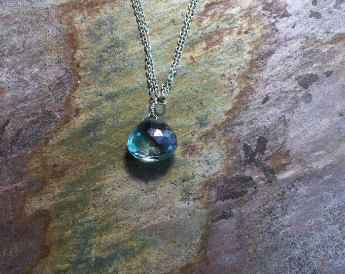 Double Strand Sterling Silver and Mystic Green Topaz Littles Necklace