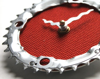 Bicycle Gear Clock - Red Tweed | Bike Clock | Wall Clock | Recycled Bike Parts Clock