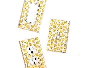 Fabric Covered Light Switch Plate Cover - All Styles - Double, Triple, GFCI, Outlet, Slider, Rocker, Toggle - Mustard Yellow Floral