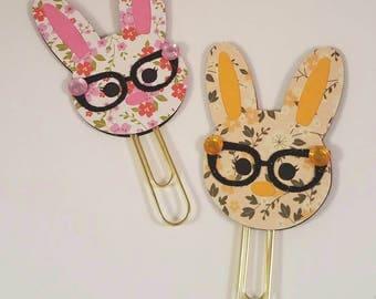 Glitter Glasses Rabbit Paperclip/ Rabbit Bookmark/ Easter Rabbit Paperclip/ Easter Paperclips