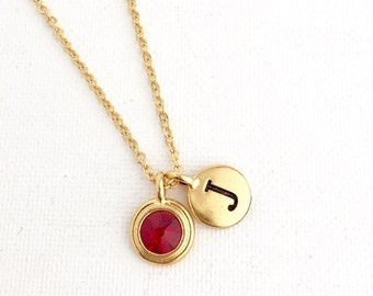 Garnet Necklace - January Birthstone Necklace - Initial Necklace - Personalized Necklace - Birthstone Jewelry - January Birthday Jewelry