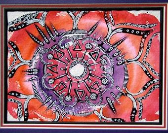 Original Mandala Inspirational Art Watercolor Painting : Heartfelt Joy