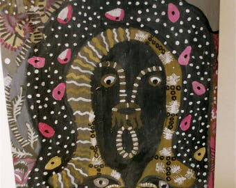 Outsider Art Painting Portrait of a Surprised Woman