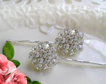 Wedding Hair Pins, Crystal Bobby Pins, Set of 2, Bridesmaids Gift, Rhinestone U-pins, Bridesmaids Hair pin, clear crystal, Bridal hair clip