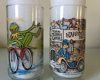 The Great Muppet Caper vintage glasses 1981 Hanson associates Inc Illustrations Kermit Fozzy Bear Beaker McDonalds Promotional give away