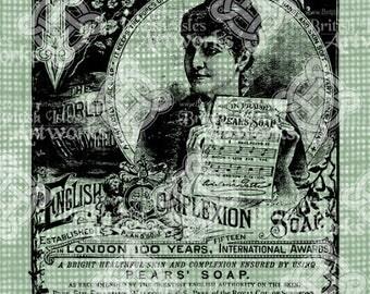 Digital Download, Pears Soap Advertisement, Digi Stamp, London England, Transparent png, Advert, Antique Illustration
