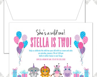 Wild One Birthday Party Invite, Stuffed animals Birthday Invitation, Safari Party, Stuffed Beanie Baby Invite, Two year old Birthday invite